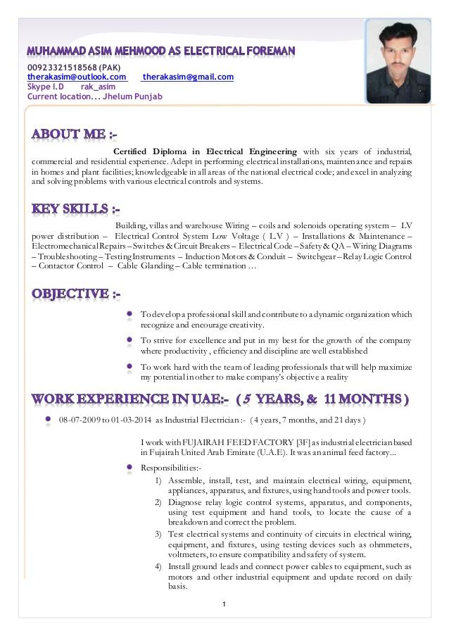 63 Top Electrician Resume Sample In Word Format by Pics