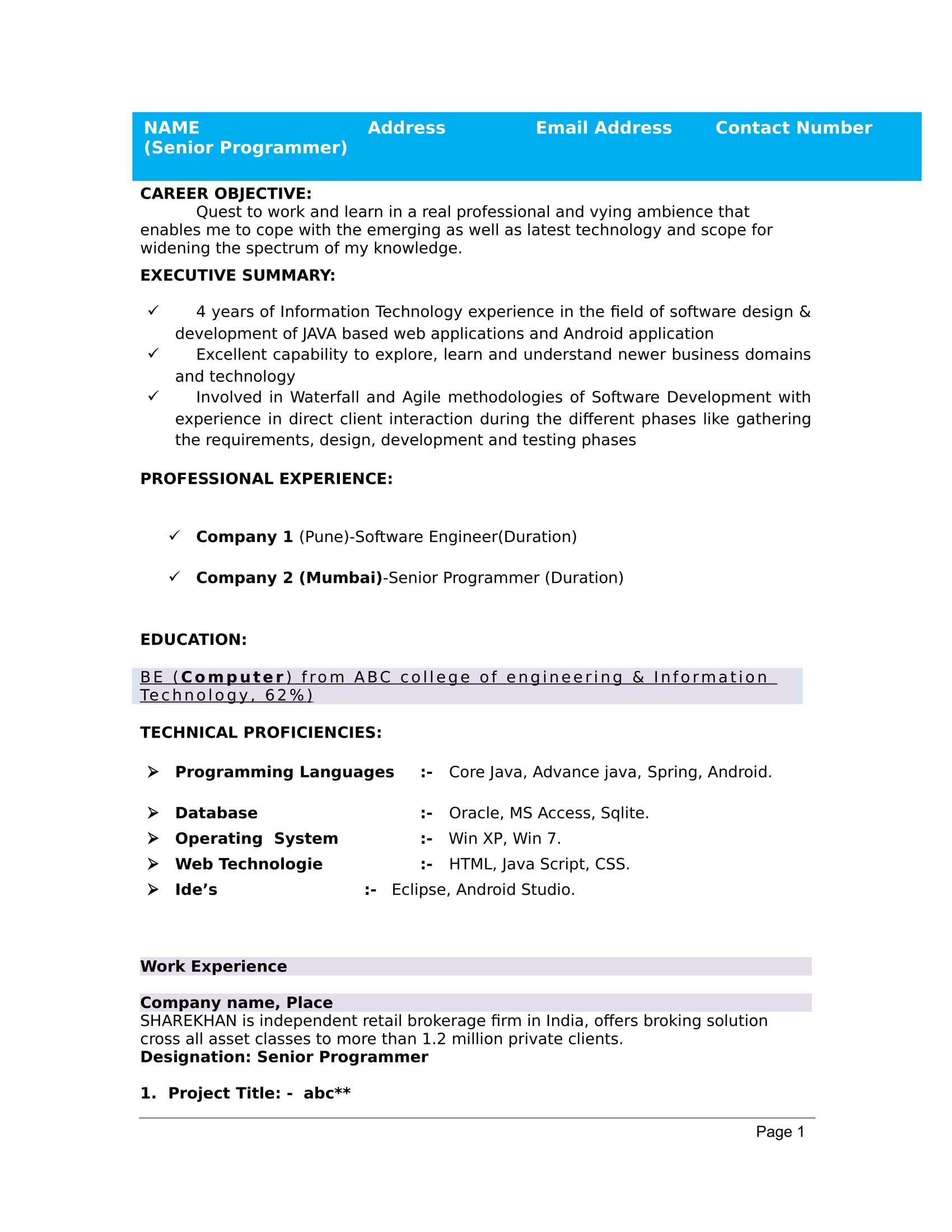 64 Excellent Resume Format For Freshers by Pictures