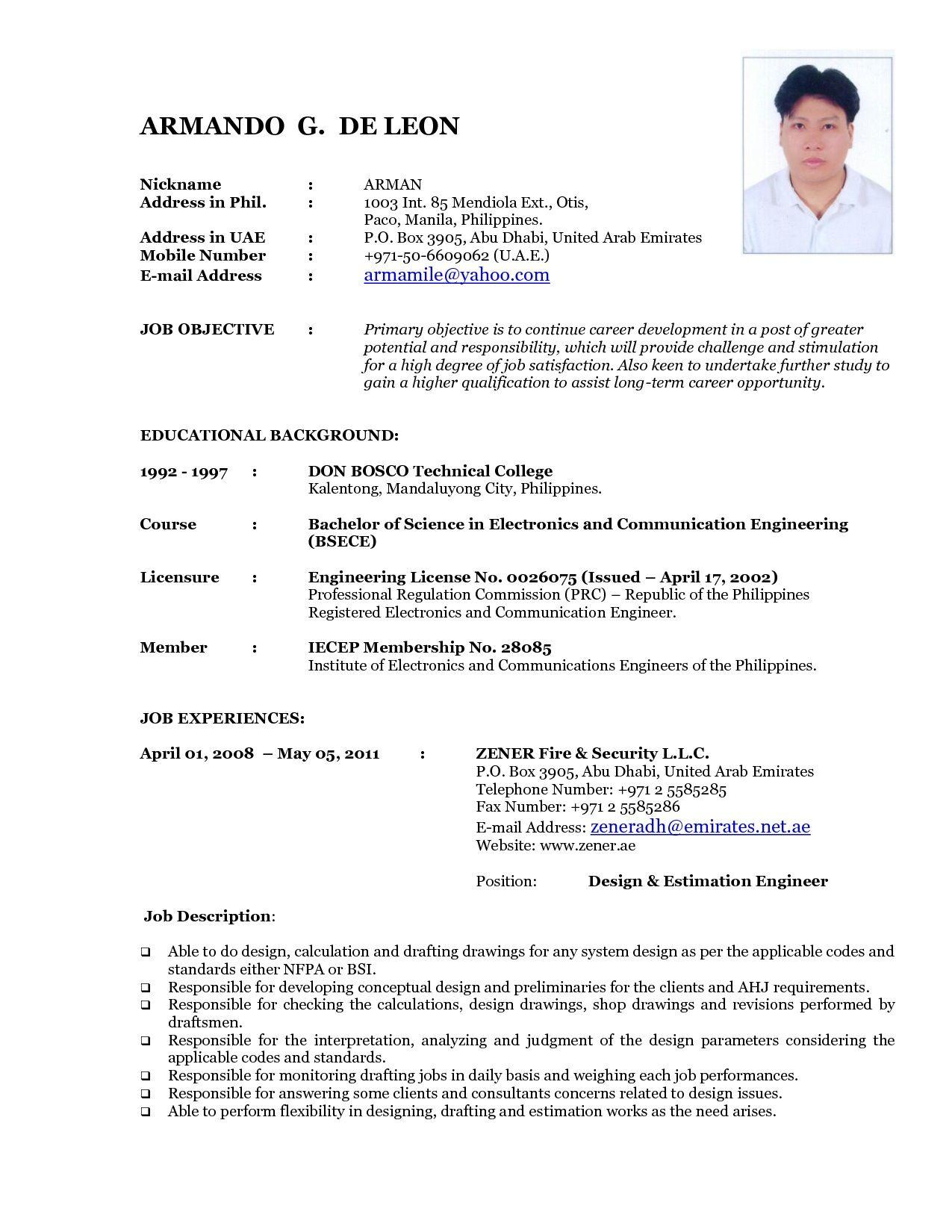 64 Nice Sample Resume Format for Gallery