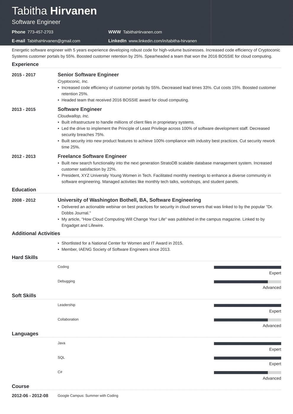 64 Nice Software Engineer Resume Sample by Pics