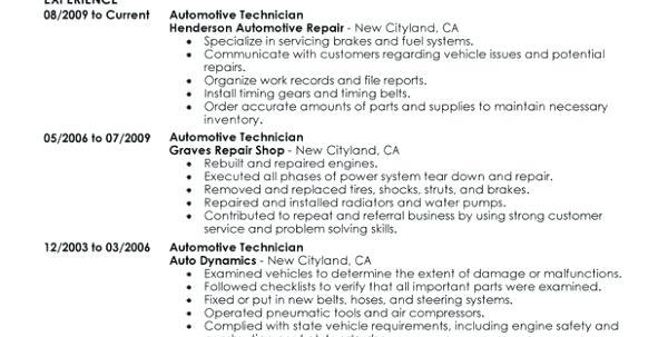 65 Beautiful Auto Mechanic Resume Objective Examples for Pictures