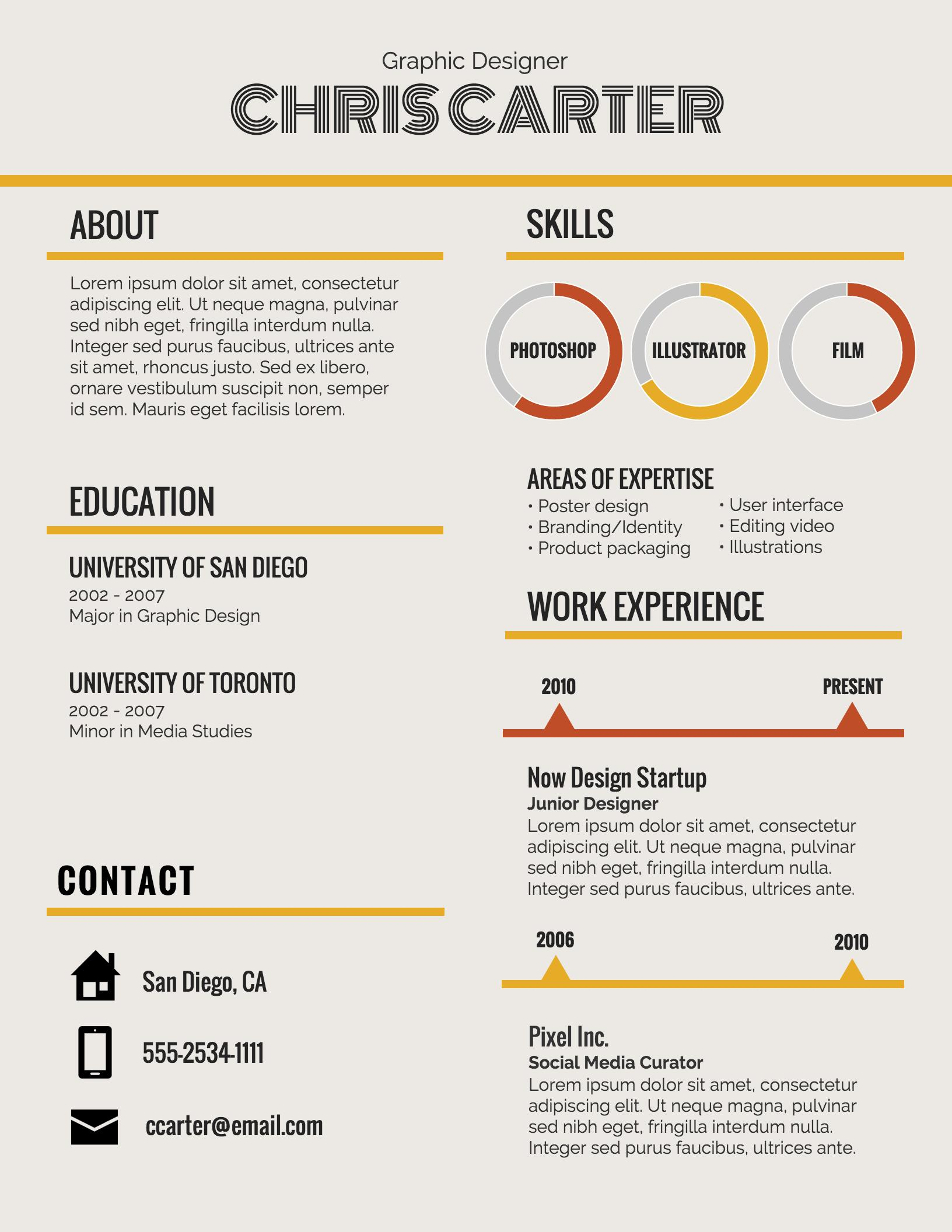 65 Nice Graphic Resume Template for Gallery