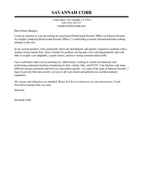 66 Awesome Security Cover Letter for Design