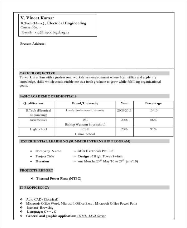 66 Fresh Electrical Engineering Resume Sample For Freshers by Gallery