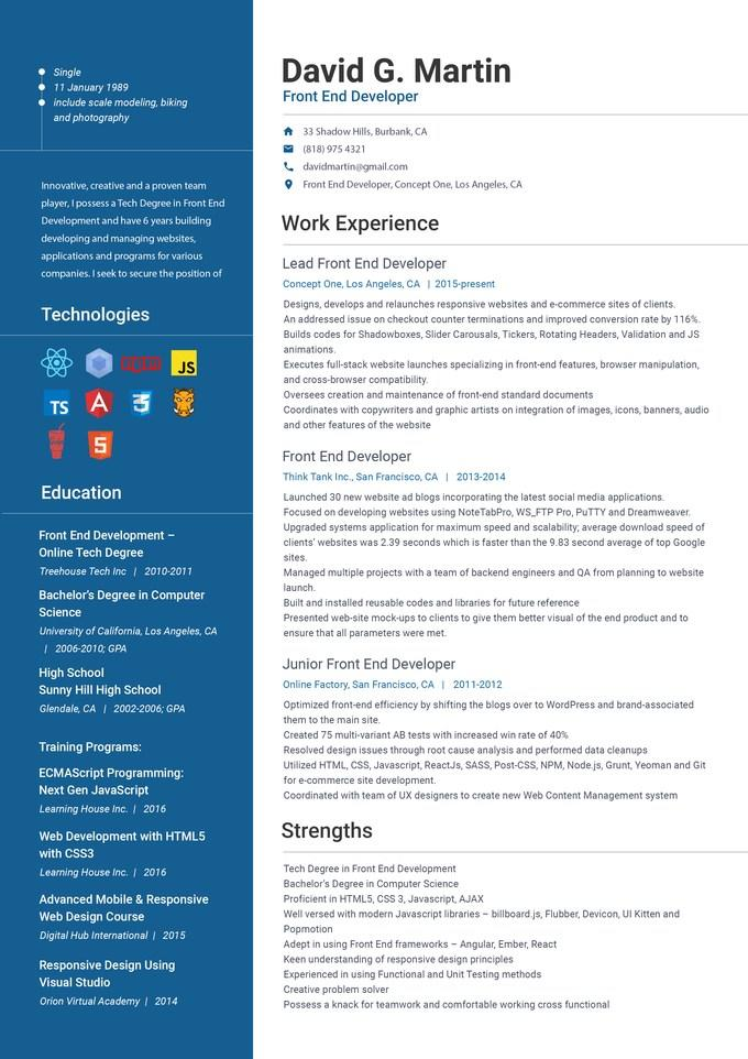 69 Excellent Angularjs Resume Sample with Design