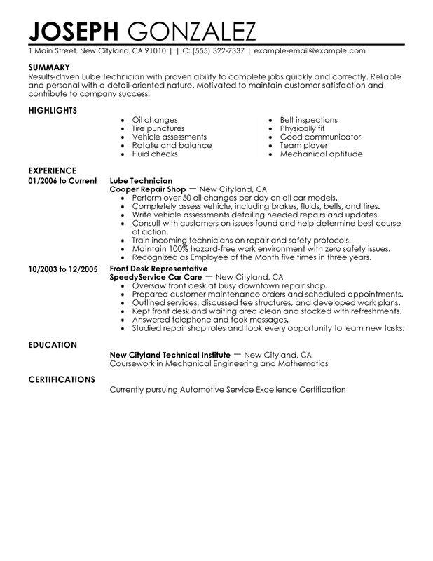 69 Great Auto Mechanic Resume Job Description by Graphics