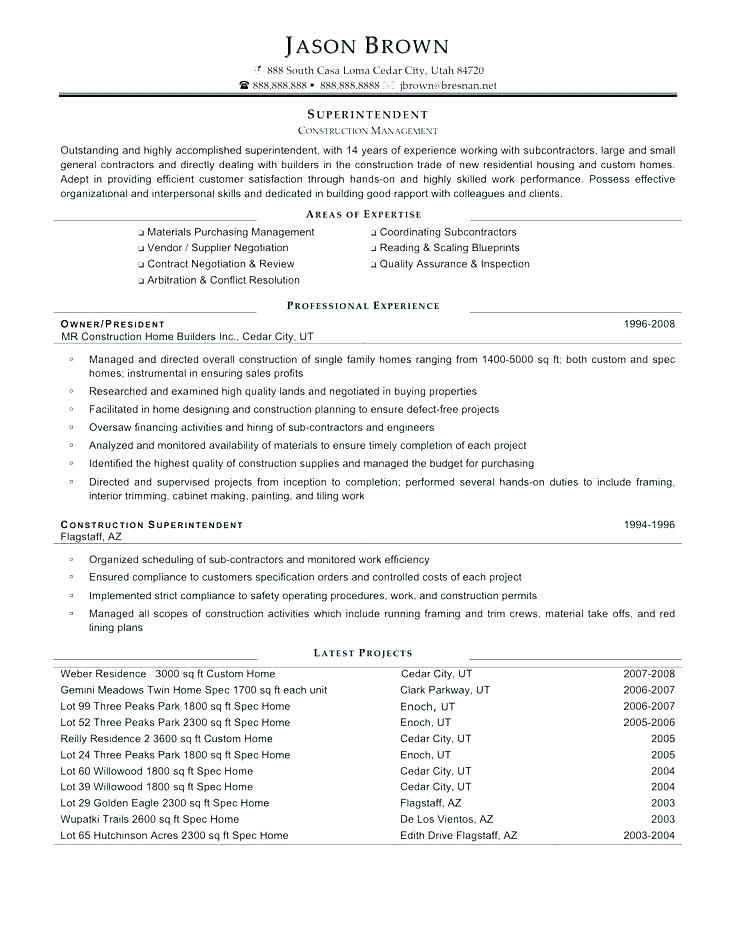69 Stunning Construction Superintendent Resume Cover Letter Examples by Gallery