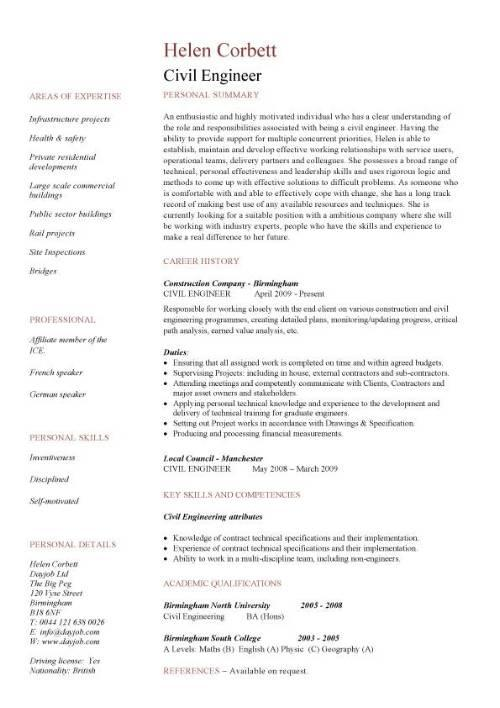 69 Top Civil Engineering Resume Examples for Design