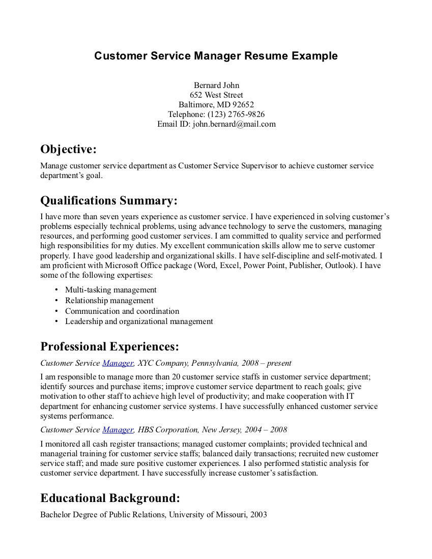 70 Awesome Customer Service Resume Objective Or Summary Examples for Ideas
