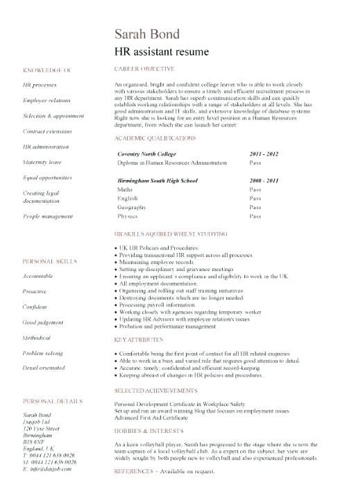 70 Excellent Entry Level Human Resources Resume for Graphics