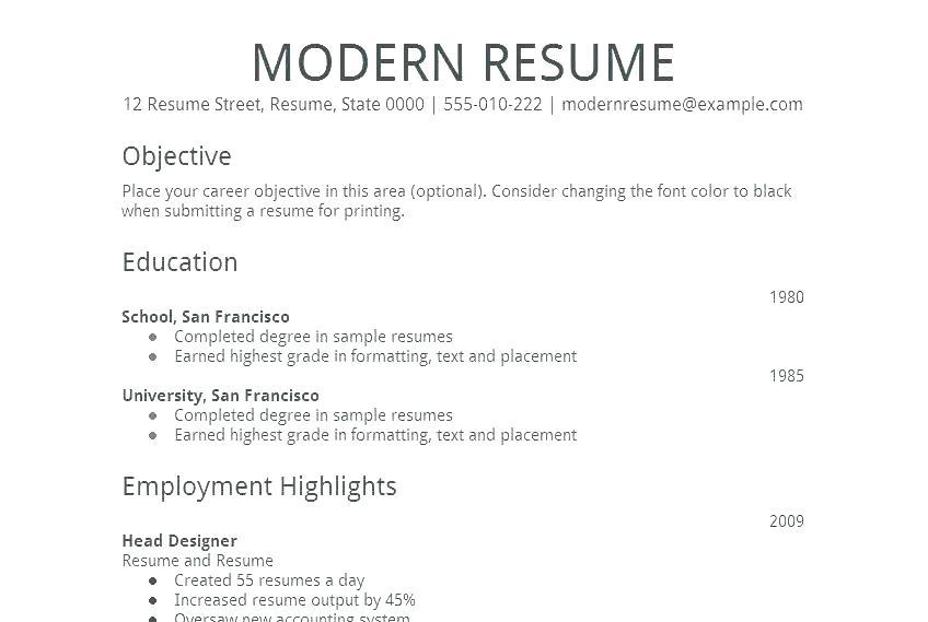 70 Stunning Modern Day Resume with Images