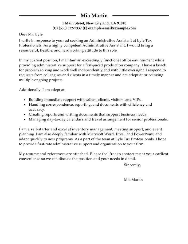 71 Cool Administration Cover Letter Sample by Pics