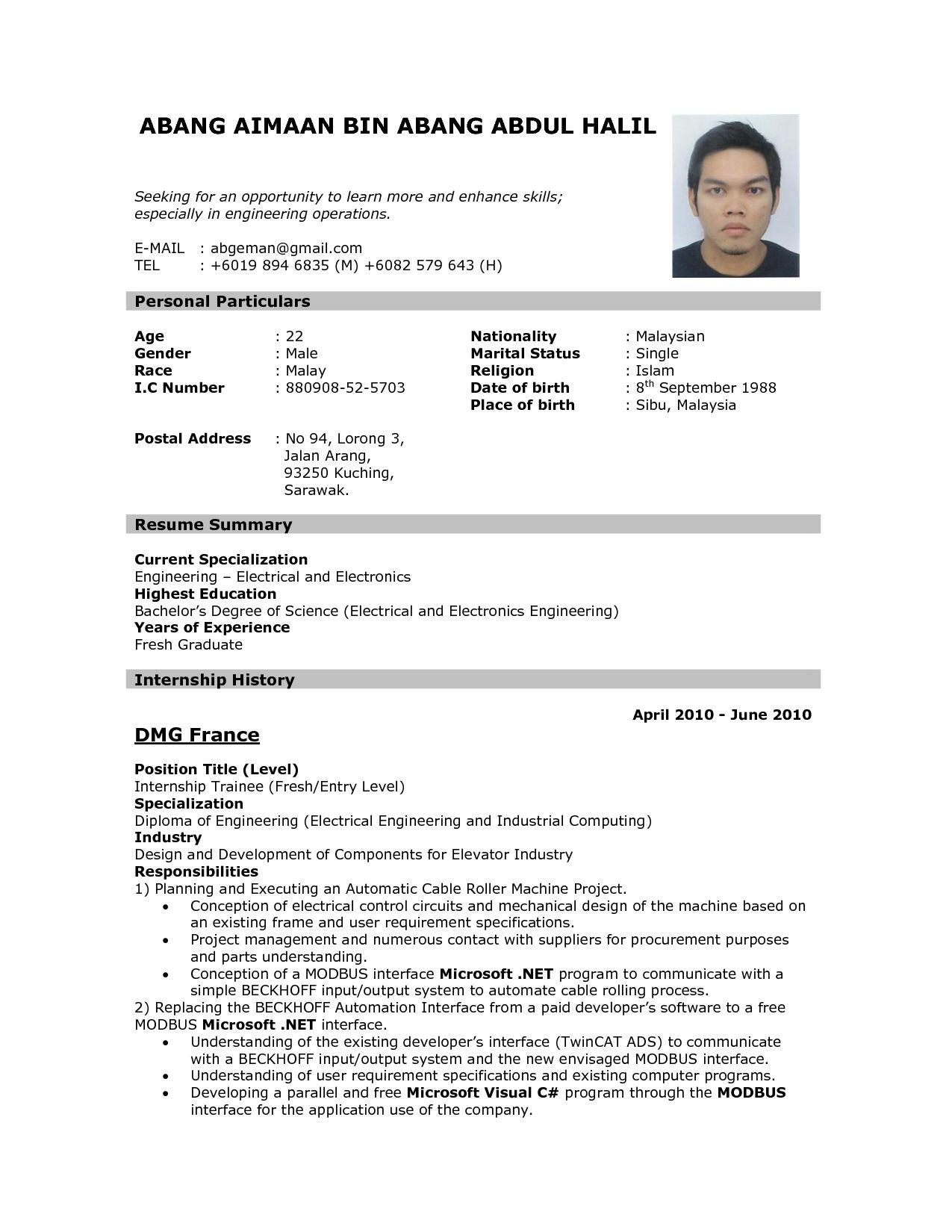 71 Fresh Resume Format Examples with Design