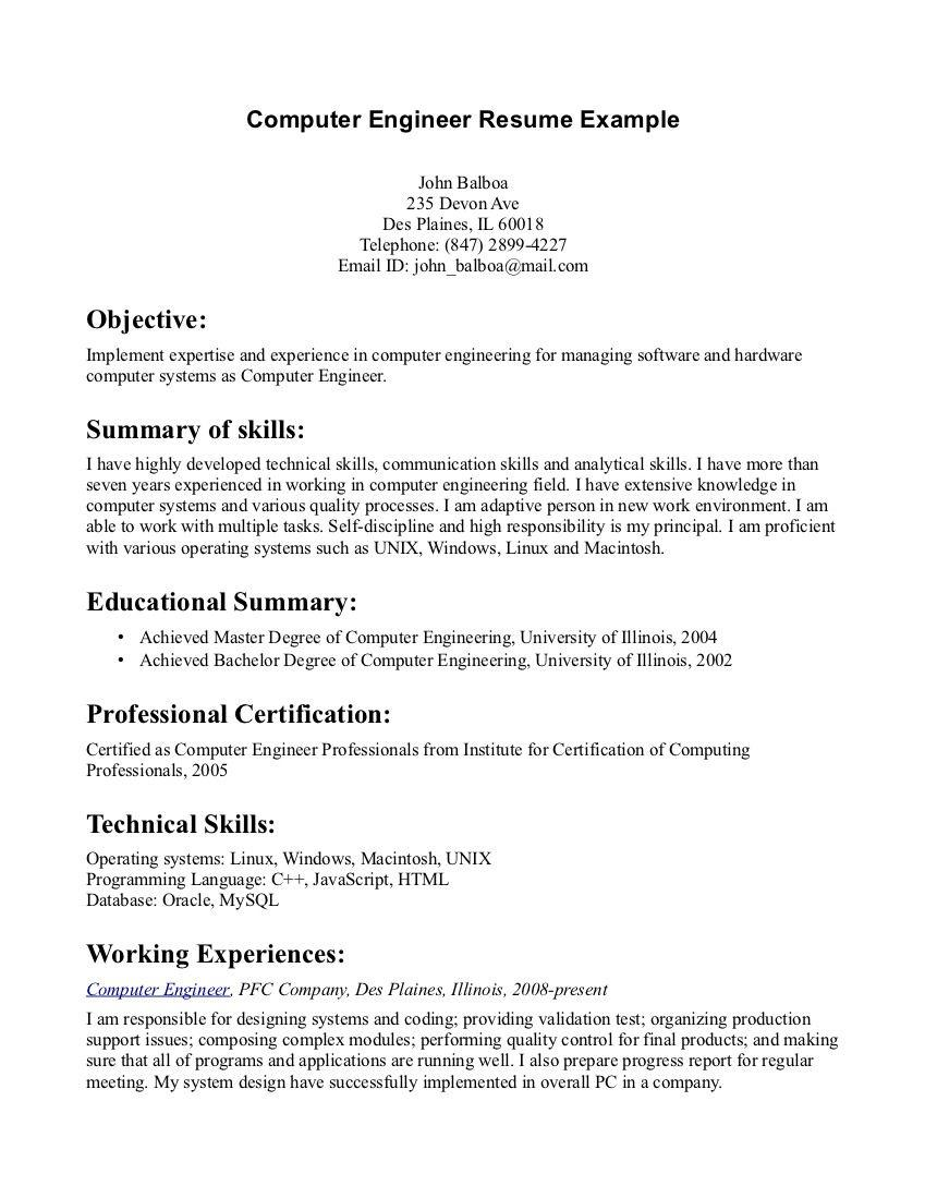 72 Best Computer Engineering Resume with Gallery
