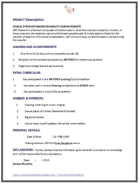 72 Excellent Sample Resume For Computer Science Engineering Students with Graphics