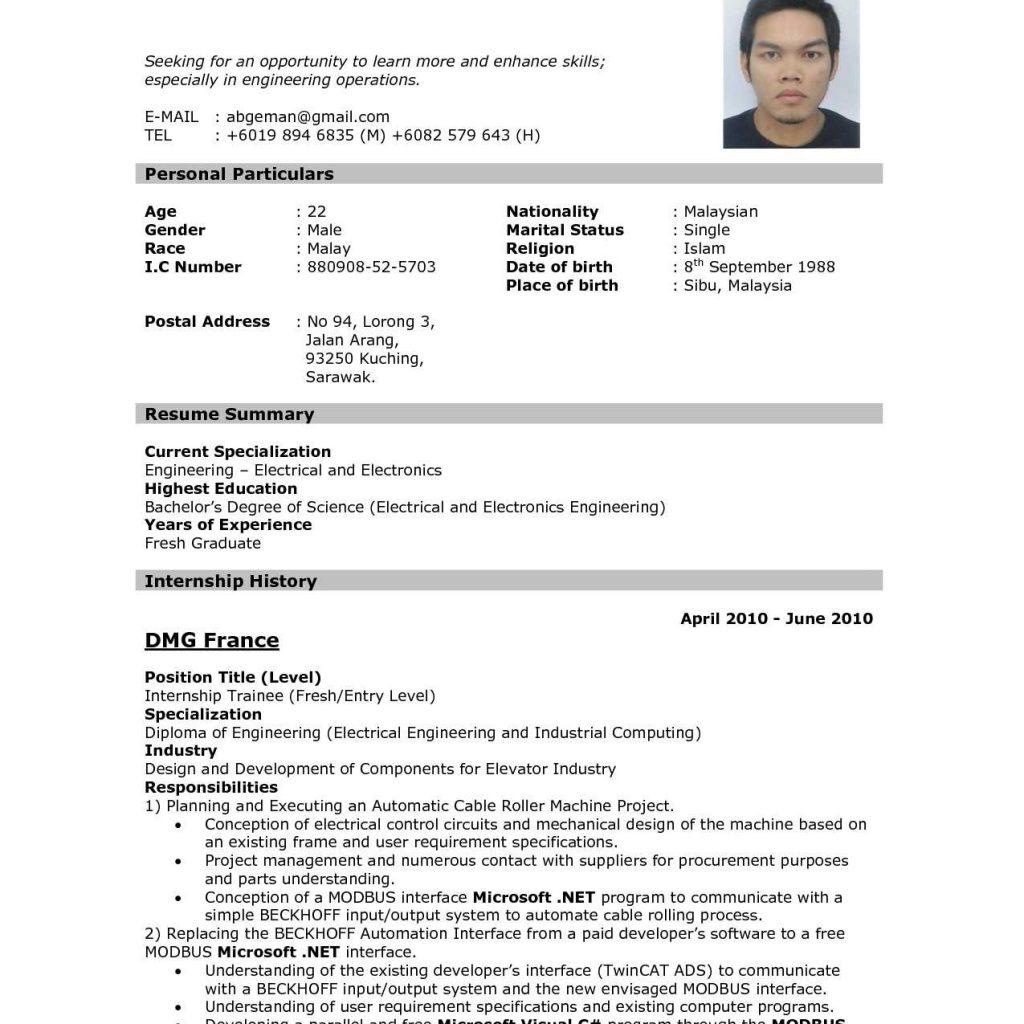72 Fresh Sample Resume Format by Design