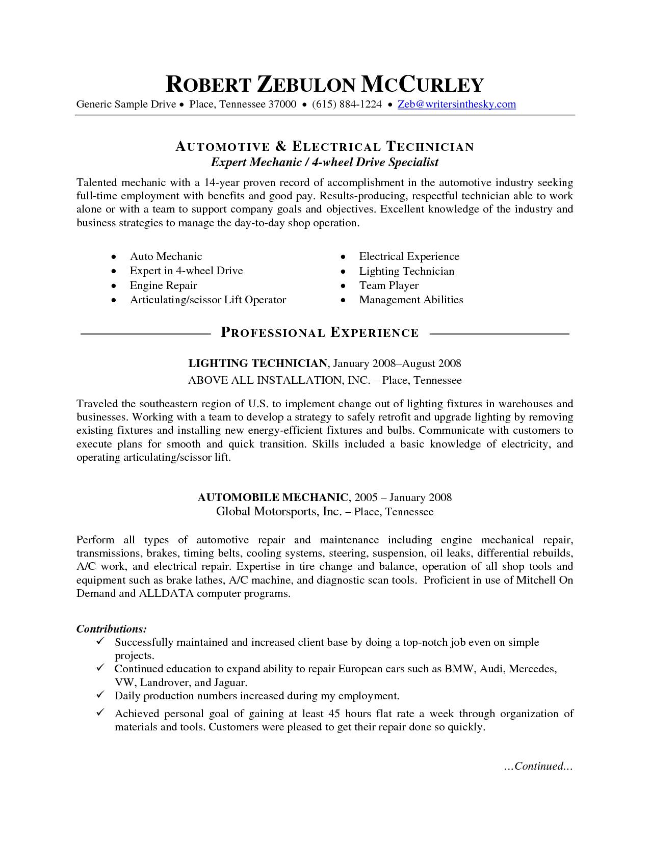 72 Inspirational Auto Mechanic Resume Objective Examples with Gallery