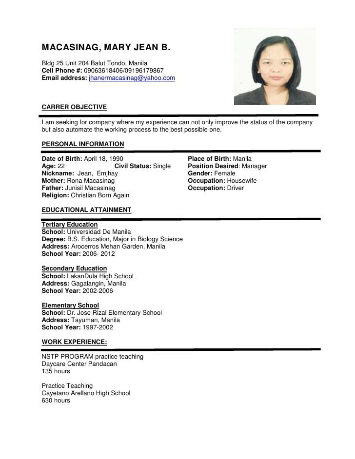 72 New Sample Resume Format for Gallery