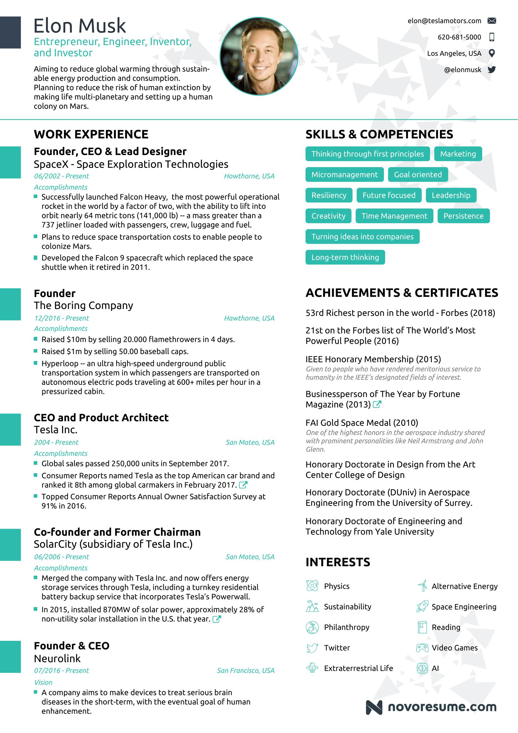 73 Beautiful One Page Resume Site with Pictures