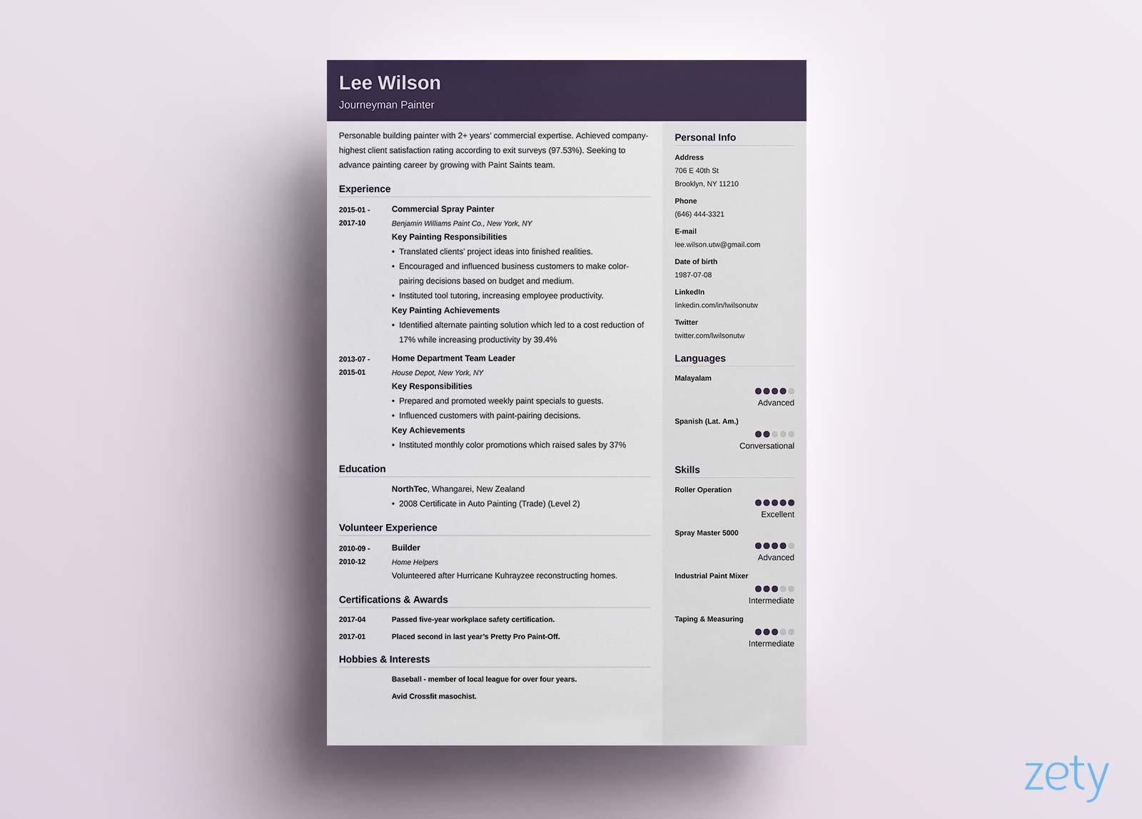 73 Inspirational Single Page Cv Template with Design