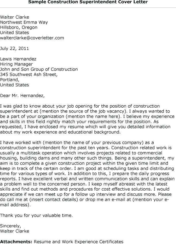 73 Lovely Construction Superintendent Resume Cover Letter Examples for Pics