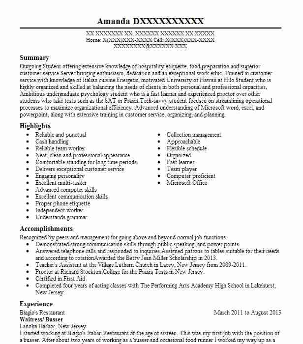 73 Stunning Busboy Resume by Graphics