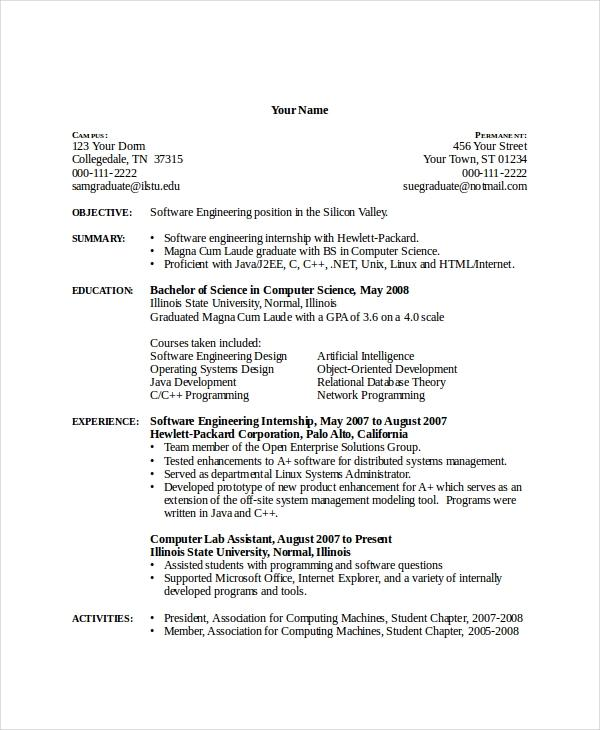 73 Stunning Sample Resume For Computer Science Engineering Students by Pics