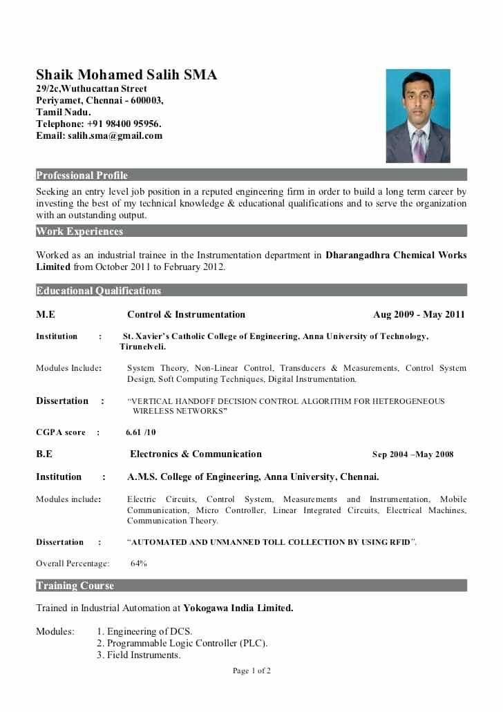 75 Cool Electrical Engineering Resume Sample For Freshers by Pics
