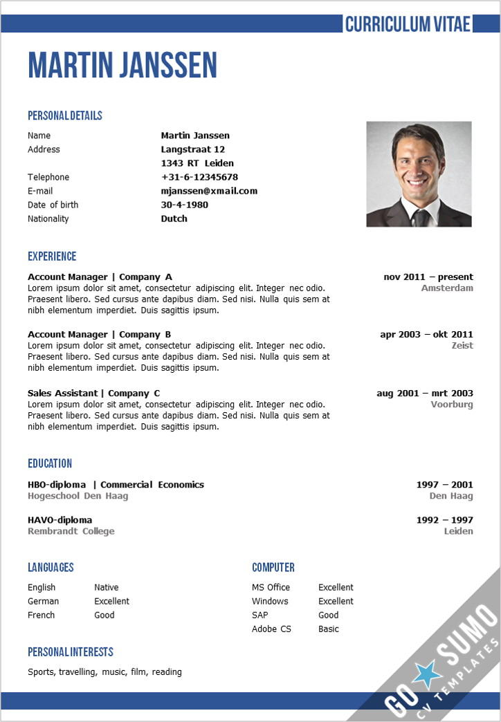 75 Excellent Curriculum Vitae Template for Ideas