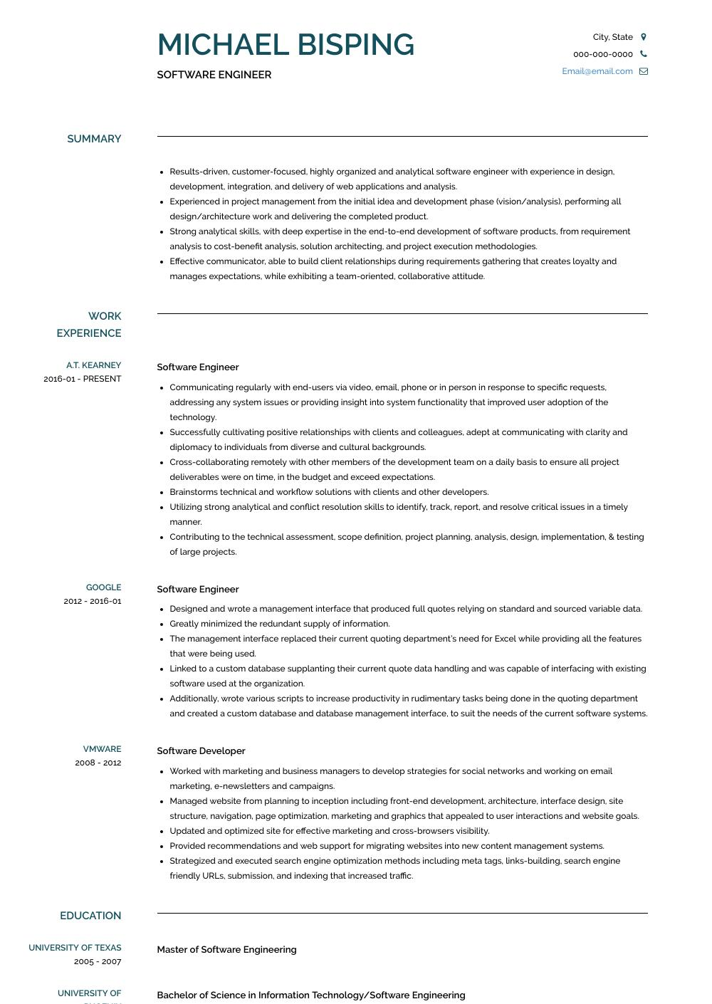 76 Lovely Software Engineer Resume with Design
