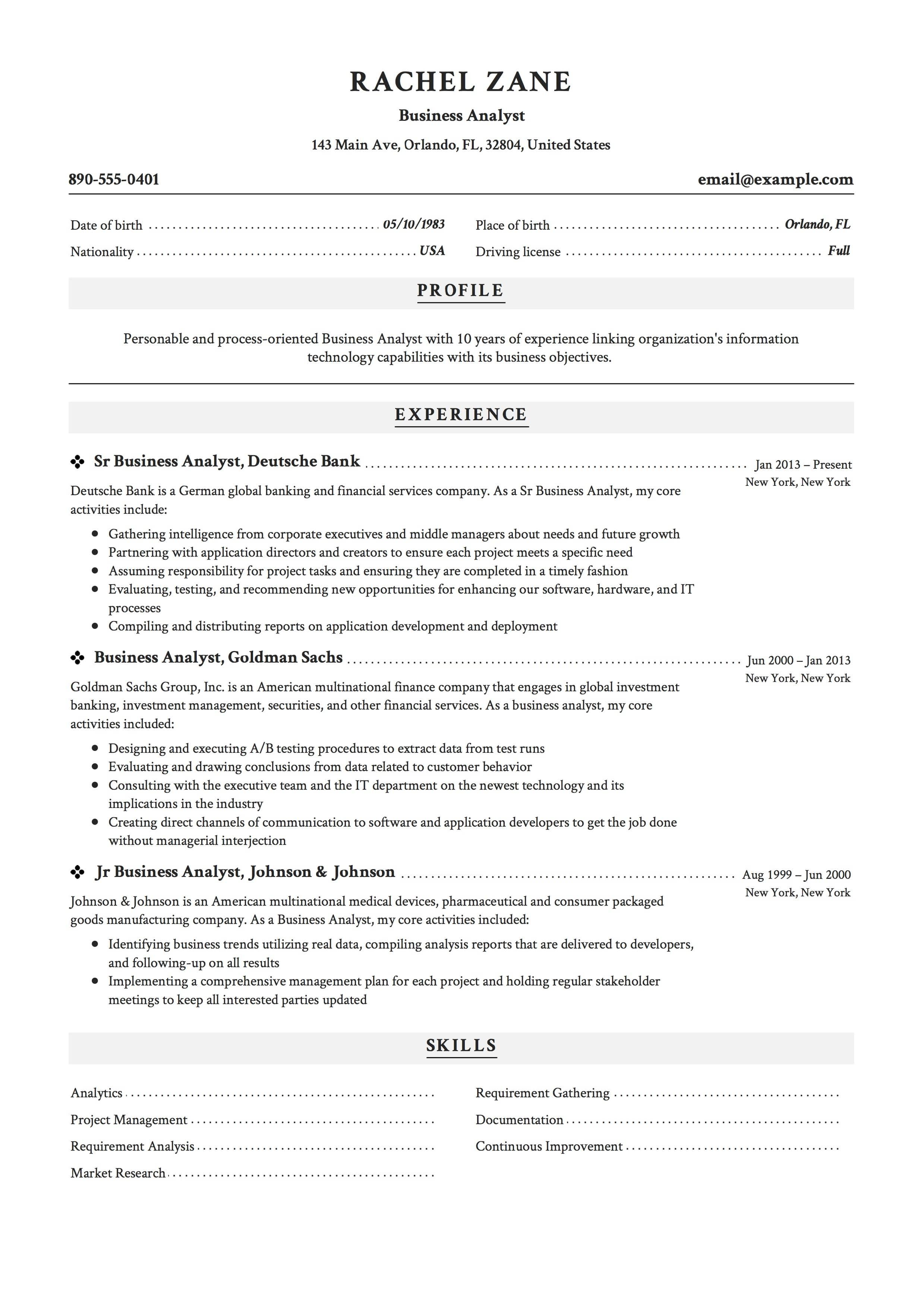 77 Best Business Analyst Resume Examples 2018 for Pics