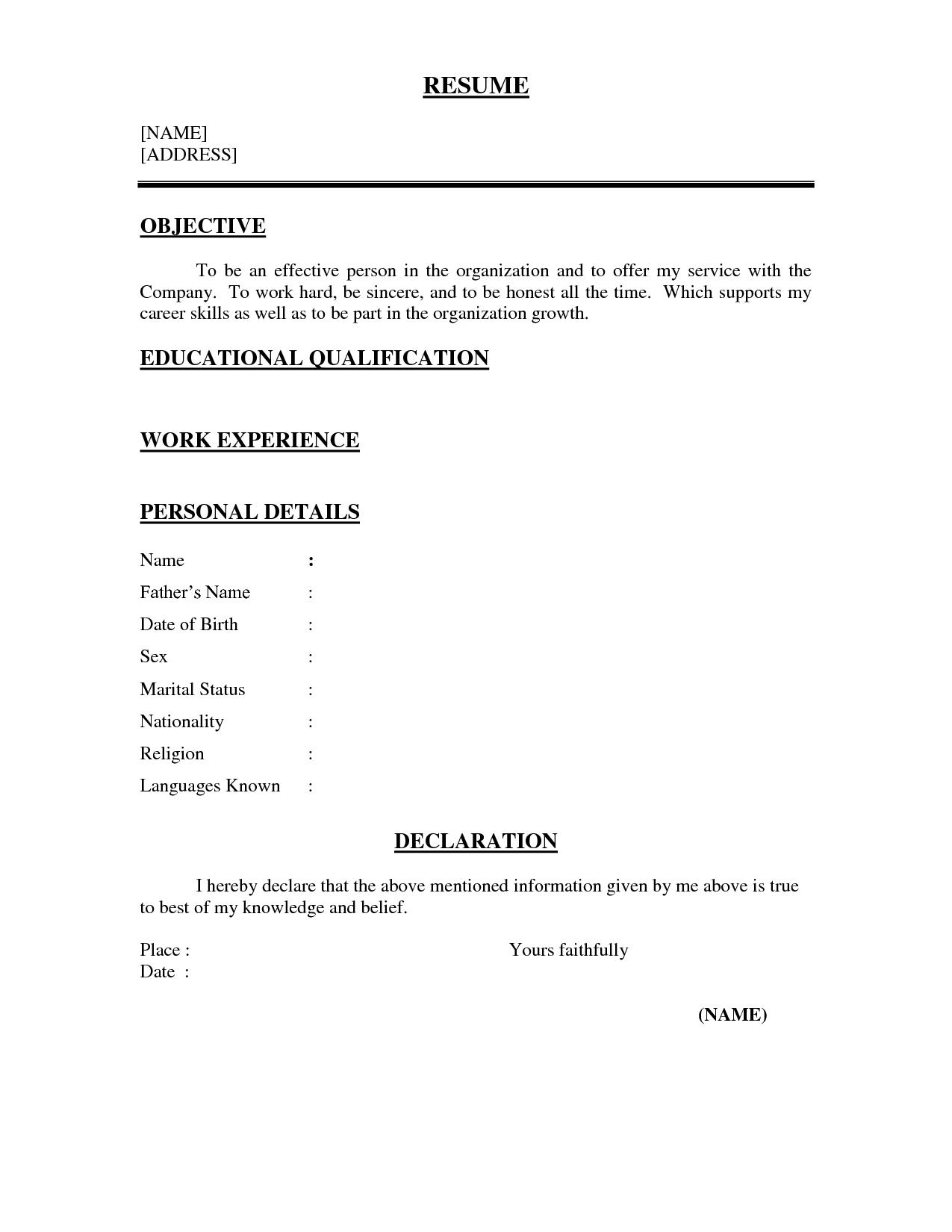 77 Cool One Page Resume Format For Freshers for Images