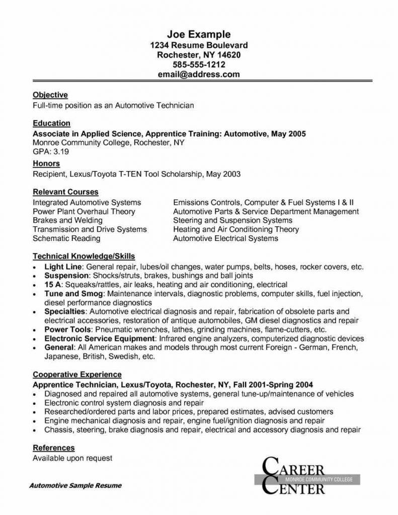 77 Inspirational Auto Mechanic Resume Objective Examples for Graphics