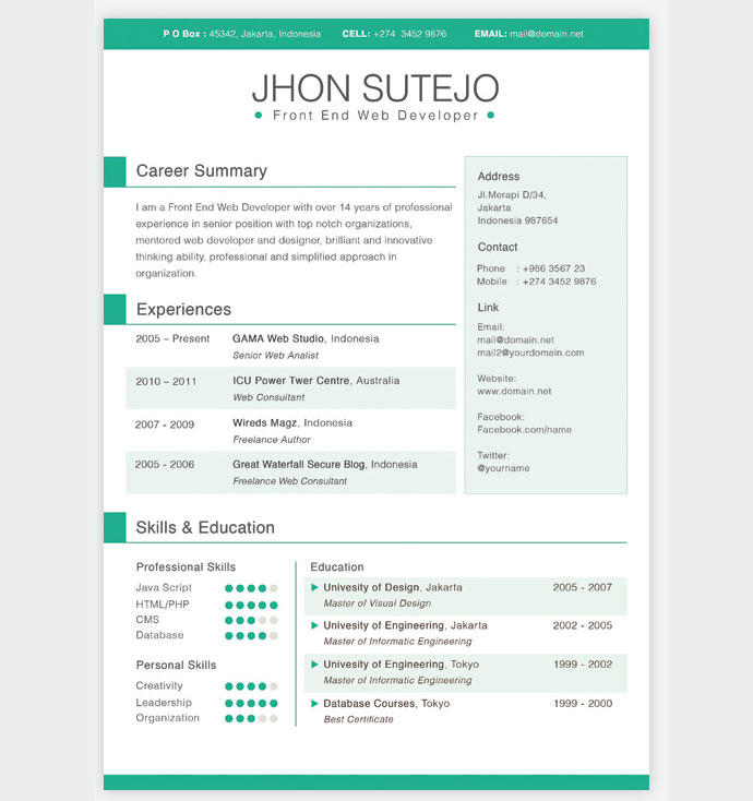 77 Top Cv Template Gratis with Images