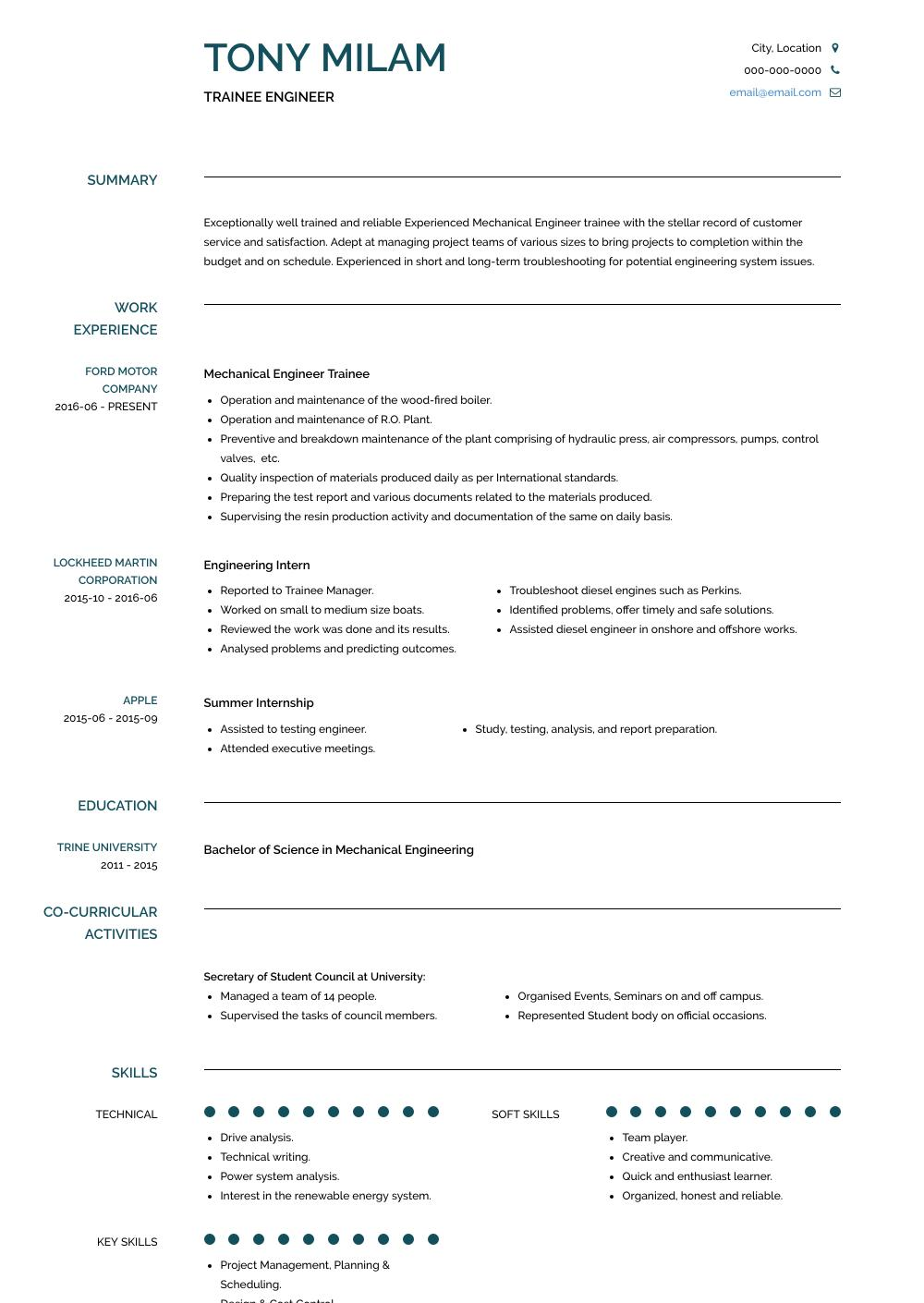 77 Top Mechanical Engineer Resume Sample for Gallery