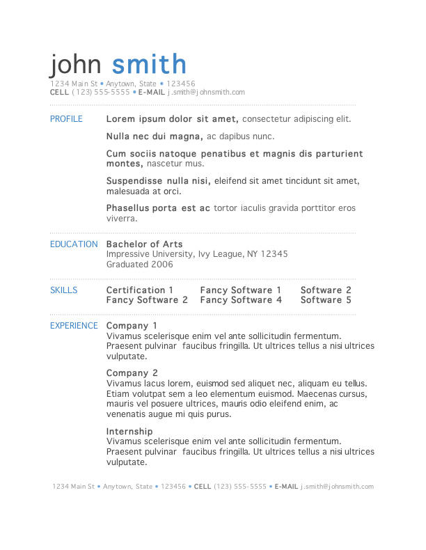 78 Best Free Resume Templates For Mac with Design