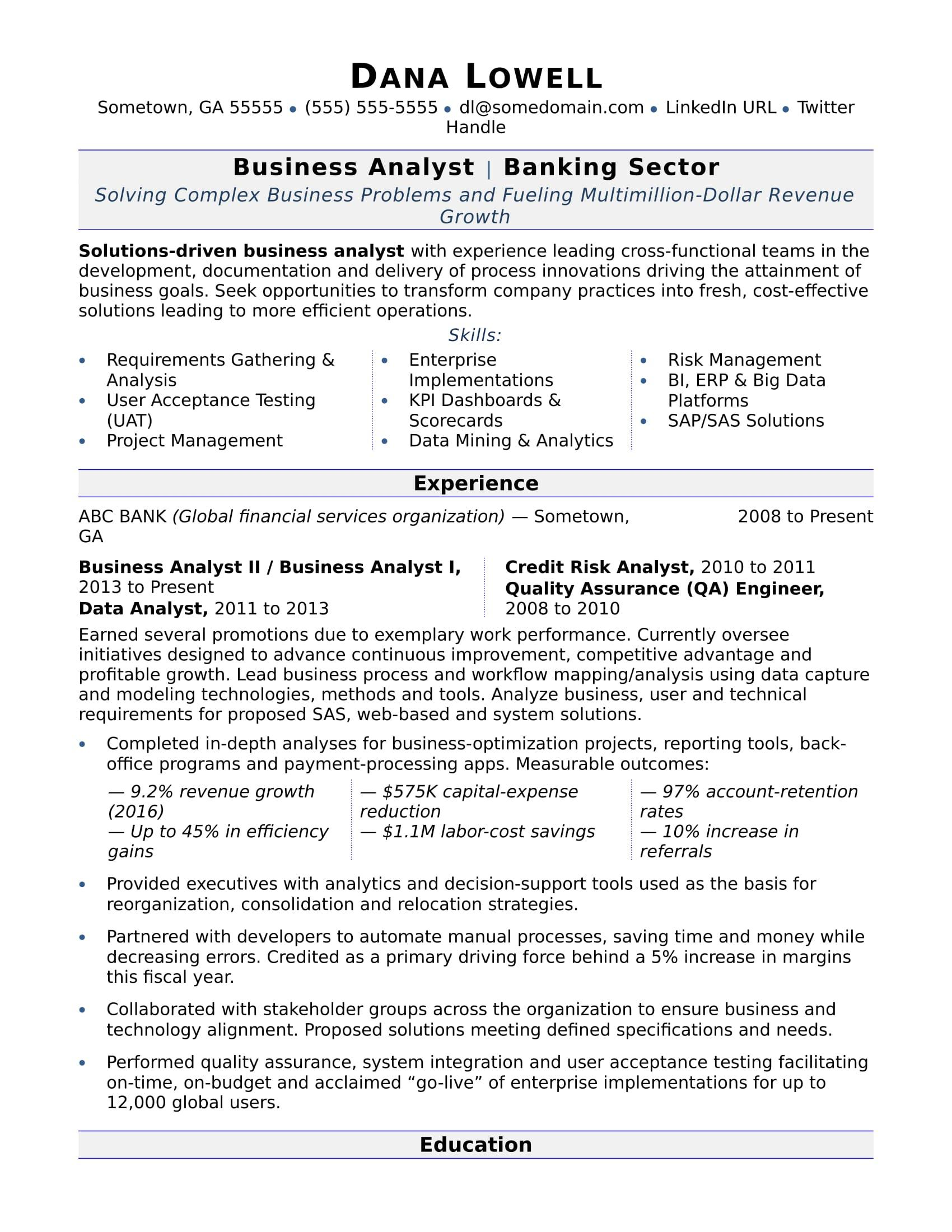 78 Cool Business Analyst Resume Examples 2018 by Pictures
