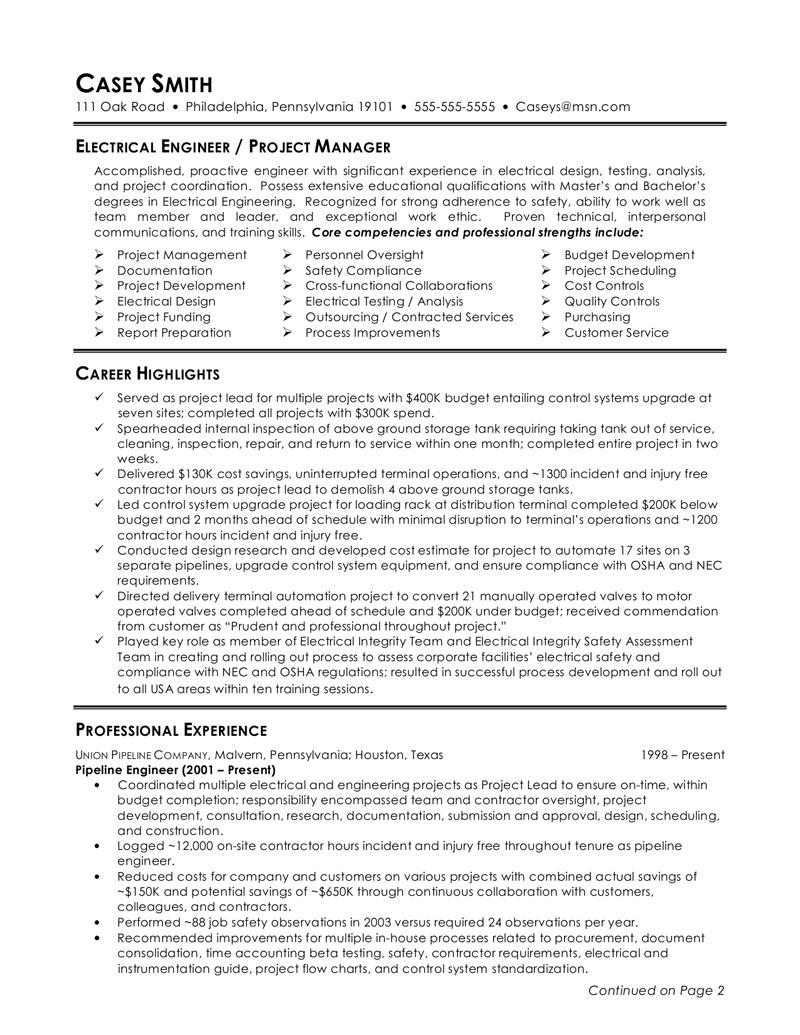 78 Excellent Electrical Engineering Resume Sample For Freshers by Images