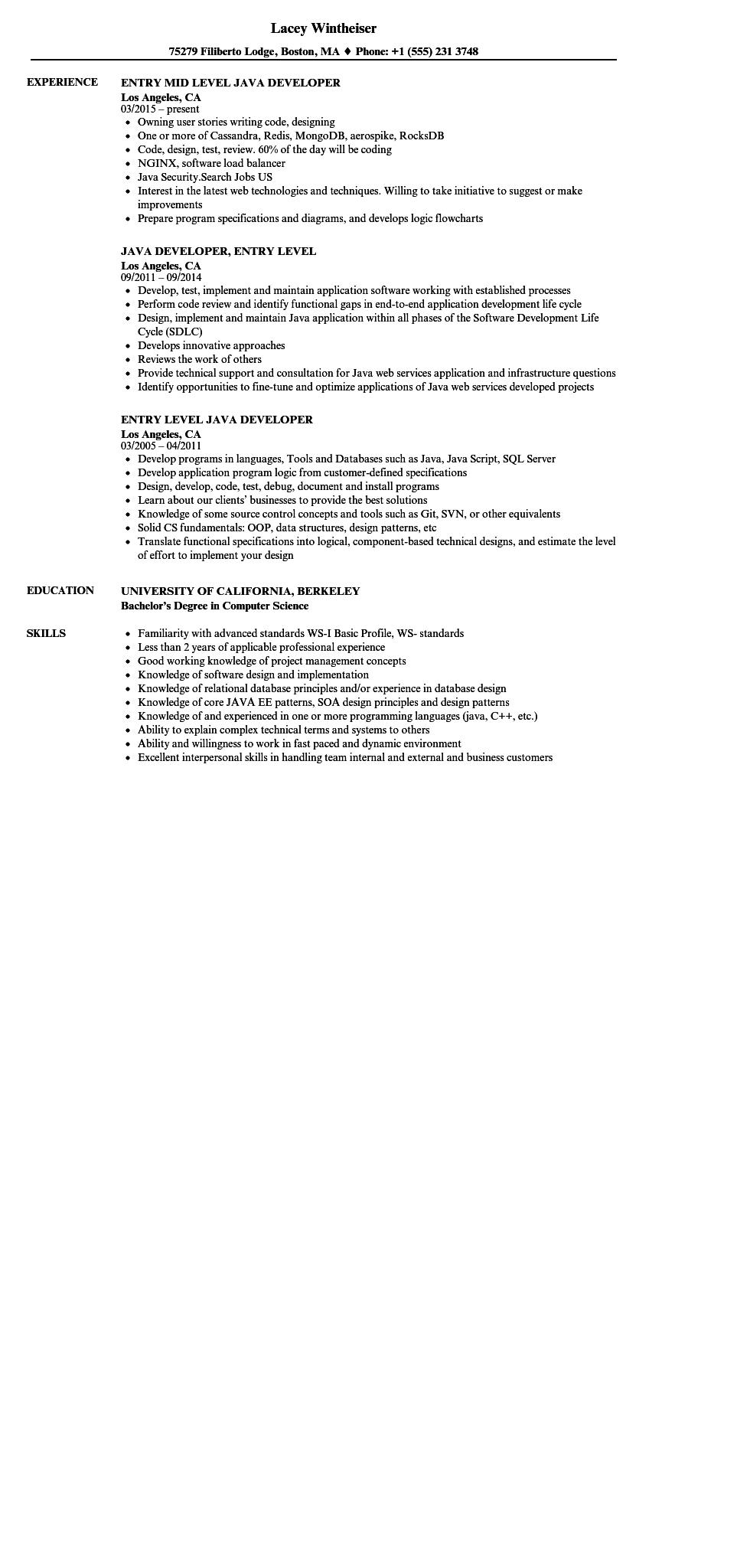 78 Inspirational Entry Level Software Developer Resume Sample for Design