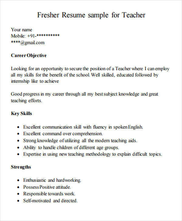 78 Lovely Resume Format For Freshers with Pics