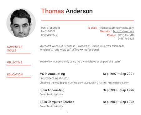 78 New Online Resume Format for Ideas