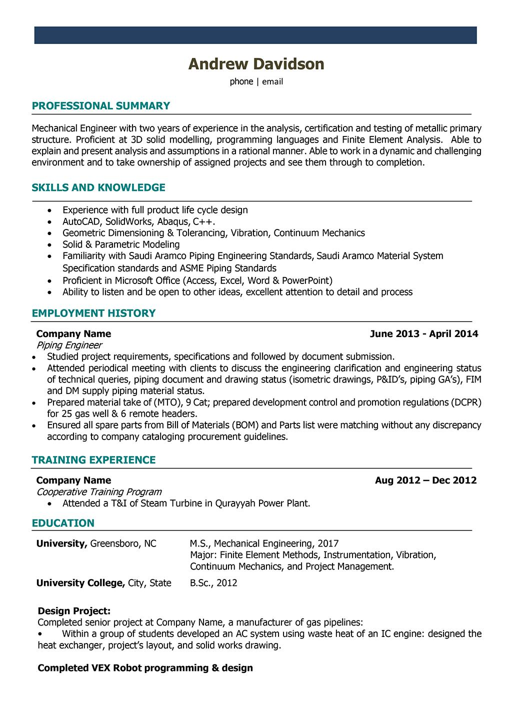 79 Excellent Mechanical Engineer Resume Sample by Design