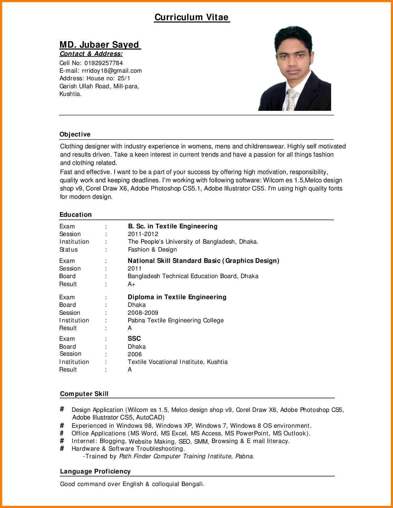 79 Lovely Sample Resume Format by Pics