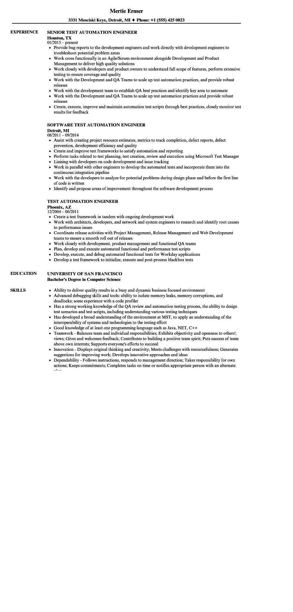 79 New Automation Engineer Resume for Ideas