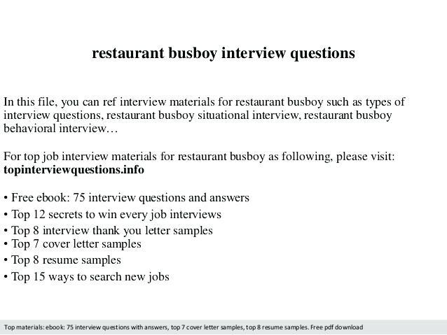 80 Beautiful Busboy Resume for Pics