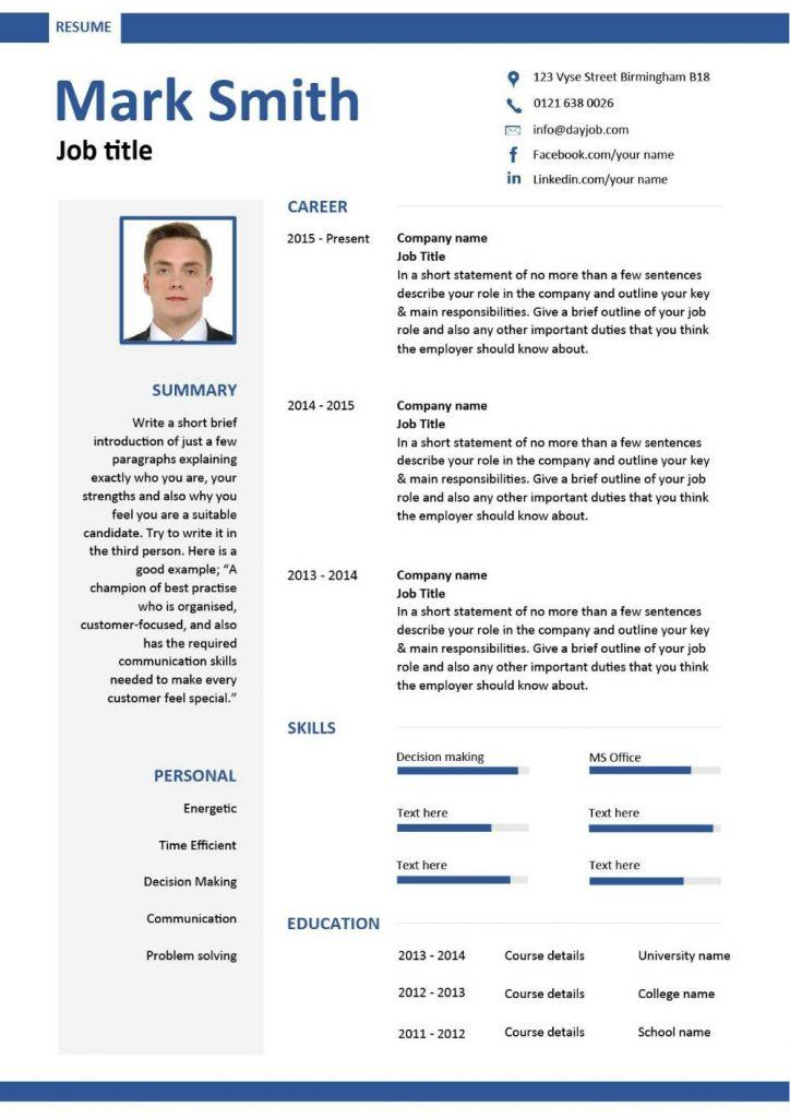 80 Fresh Modern Day Resume for Gallery