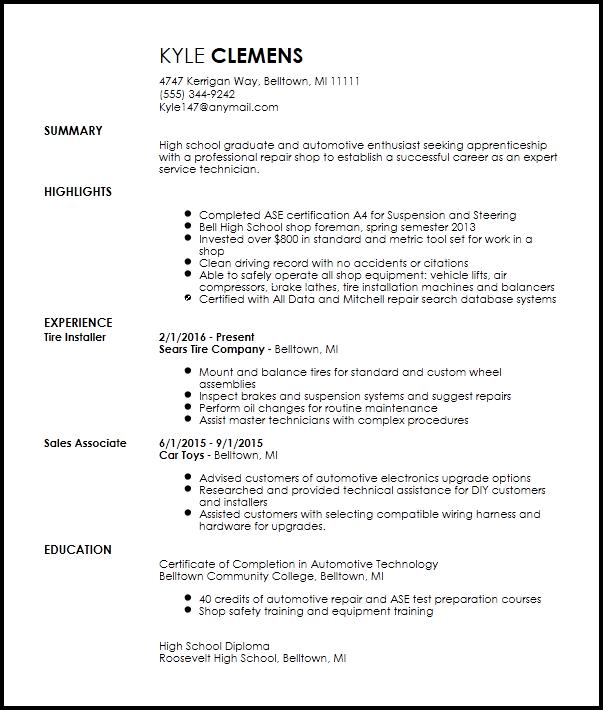 80 Top Entry Level Mechanic Resume for Gallery