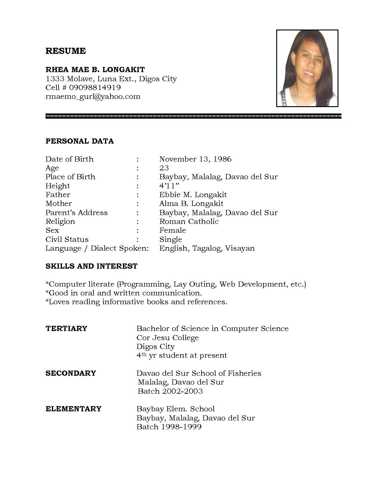 81 Beautiful Sample Resume Format by Graphics