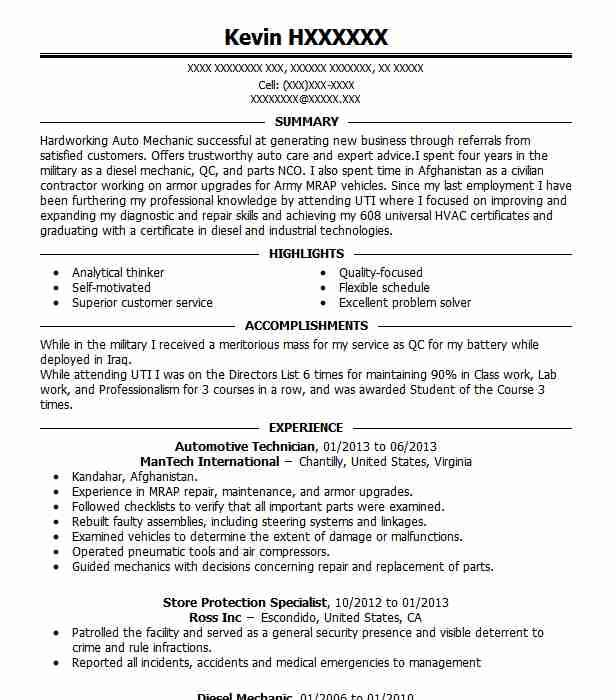 81 Cool Auto Mechanic Resume Objective Examples for Pics