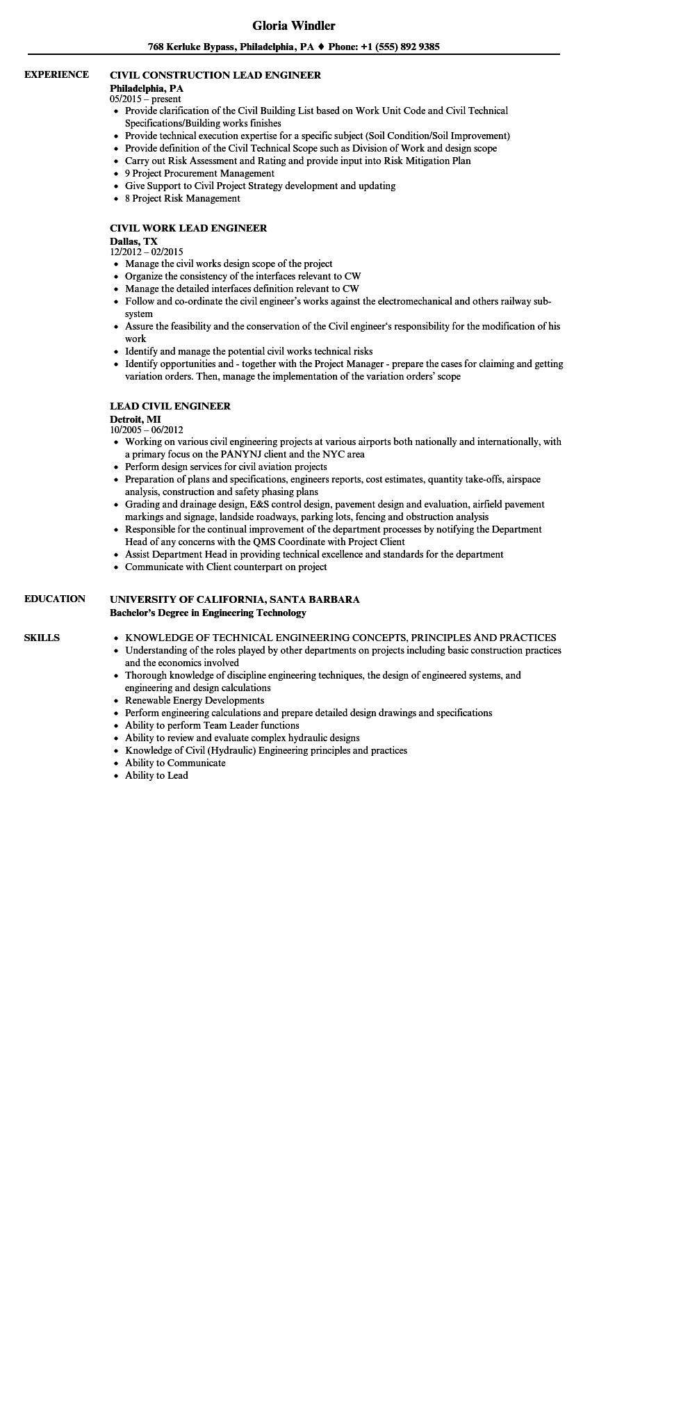 81 Cool Civil Engineering Resume Examples by Pics